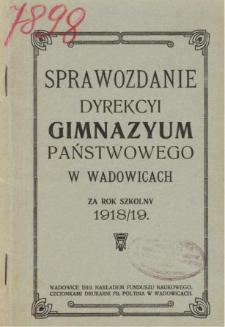 Sprawozdanie Dyrekcji Gimnazjum Państwowego w Wadowicach za rok szkolny 1918/19