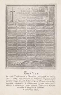 Tablica ku czci Profesorów i Uczniów poległych w latach 1914-1920 [...] [Pocztówka]