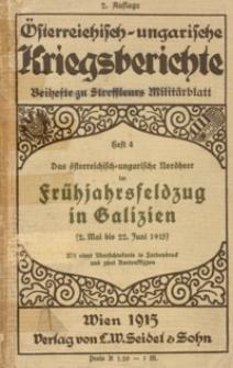 Das österreichisch-ungarische Nordheer im Frühjahrsfeldzug in Galizien (2. Mai bis 22. Juni 1915)
