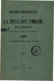 Jahresbericht des K. K. Zweiten Staats-Gymnasiums in Lemberg fur das Schuljahre 1909. 2. Teil.