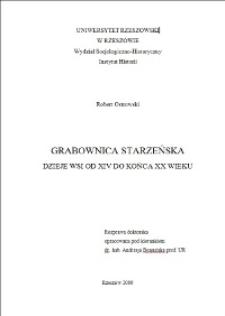 Grabownica Starzeńska. Dzieje wsi od XIV do końca XX wieku