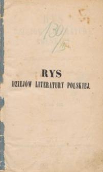 Rys dziejów literatury polskiej T.3