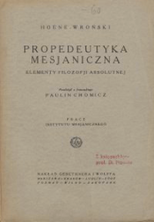 Propedeutyka mesjaniczna