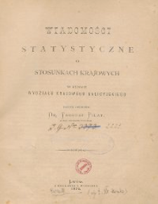 Wiadomości Statystyczne o Stosunkach Krajowych 1873