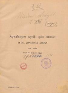 Wiadomości Statystyczne o Stosunkach Krajowych ; najważniejsze wyniki spisu ludności z 31 grudnia 1890