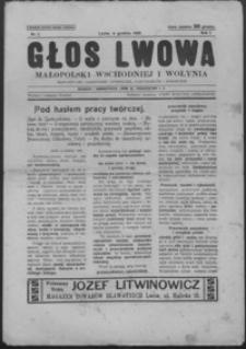 Głos Lwowa, Małopolski Wschodniej i Wołynia : bezpartyjne czasopismo literackie, gospodarcze i społeczne. 1926, R 1, nr 1-2