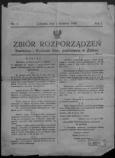 Zbiór Rozporządzeń Starostwa i Wydziału Rady Powiatowej w Żółkwi. 1929, R. 1, nr 1-13