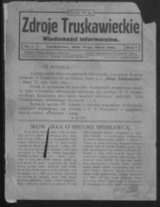 Zdroje Truskawieckie : wiadomości informacyjne. 1925, R.1, nr 1-4