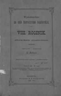 Rocznik Samborski : nowa serja illustrowana : wydawnictwo na cele dobroczynne samborskie. 1884-1885, R. 8
