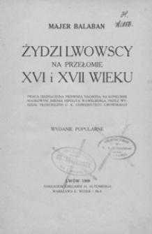 Żydzi lwowscy na przełomie XVI i XVII wieku