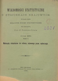 Wiadomości Statystyczne o Stosunkach Krajowych T. 21, z. 1