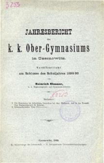Jahresbericht des K. K. Obergymnasiums in Czernowitz veroffentlicht am Schlusse des Schuljahres 1898/99
