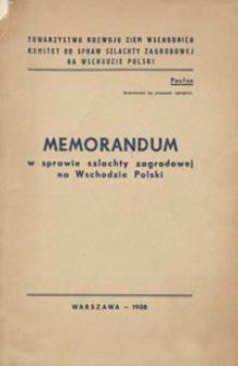 Memorandum w sprawie szlachty zagrodowej na Wschodzie Polski