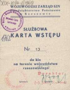 Służbowa karta wstępu nr 13 do kin na terenie województwa rzeszowskiego