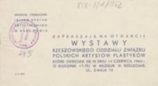 Wystawa Rzeszowskiego Oddziału Związku Polskich Artystów Plastyków [zaproszenie]