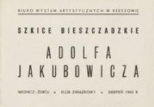 Szkice bieszczadzkie Adolfa Jakubowicza [katalog]