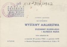Wystawa malarstwa Zuzanny Kusek-Kud i Alfreda Kuda [zaproszenie]