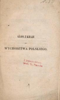 Głos z kraju do wychodztwa polskiego w roku 1846