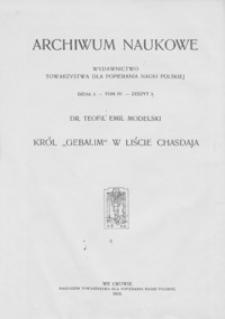 """Król """"Gebalim"""" w liście Chasdaja : studyum historyczne z X w."""