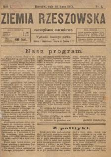 Ziemia Rzeszowska : czasopismo narodowe. 1919, R. 1, nr 1 - 24