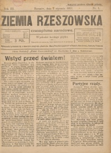 Ziemia Rzeszowska : czasopismo narodowe. 1921, R. 3, nr 1 - 2