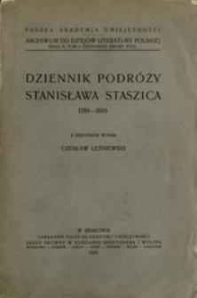Dziennik podróży Stanisława Staszica : 1789-1805