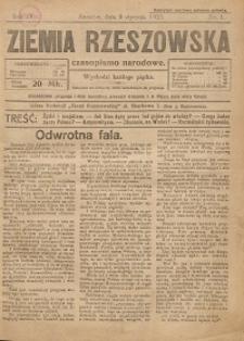 Ziemia Rzeszowska : czasopismo narodowe. 1922, R. 4, nr 1 - 5,10,25,33 - 34,37 - 41