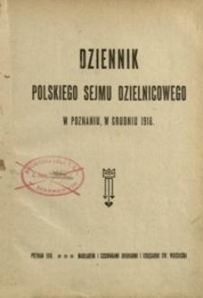 Dziennik Polskiego Sejmu Dzielnicowego w Poznaniu, w grudniu 1918.