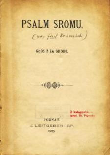 Psalm sromu : głos z za grobu