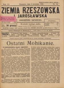 Ziemia Rzeszowska i Jarosławska : czasopismo narodowe. 1925, R. 7, nr 14 - 16, 18 - 24
