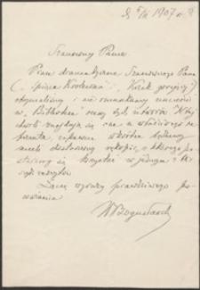 [List W[ładysława] Bogusławskiego do Józefa Wiśniowskiego, 05.02.1907]