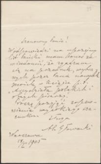 [List Bolesława Prusa do Józefa Wiśniowskiego, 18.01.1905]