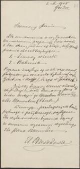 [List Elizy Orzeszkowej do Józefa Wiśniowskiego, 02.02.1905]