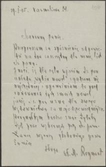 [List Władysława Stanisława Reymonta do Józefa Wiśniowskiego, 29.01.1905]
