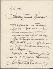 [List Mieczysława Frenkiela do Józefa Wiśniowskiego, 12.04.1921]
