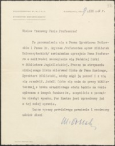 [List M. Pollaka do Józefa Wiśniowskiego, 09.03.1939]