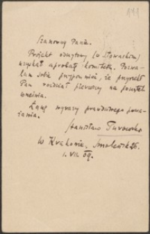 [Kartka pocztowa Stanisława Turowskiego do Józefa Wiśniowskiego, 01.07.1909]