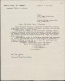 [List Leona Łętowskiego do Józefa Wiśniowskiego, 16.12.1931]