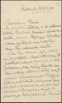 [List Stanisława Tarnowskiego do Józefa Wiśniowskiego, 18.08.1901]