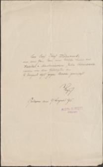 [List O. Regtta do Józefa Wiśniowskiego. 1915]