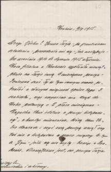[List Henryka Mauzera do Józefa Wiśniowskiego, 09.07.1915]