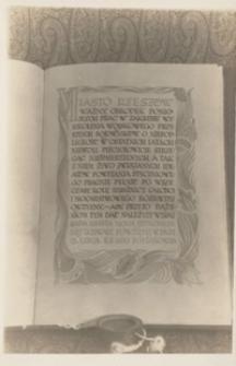 [Księga z uroczytości nadania przez Radę Miasta Rzeszowa Edwardowi Rydzowi-Śmigłemu tytułu Honorowego Obywatela Miasta Rzeszowa. Cz. 1] [Pocztówka]
