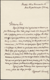 [List Zygmunta Sarneckiego do Józefa Wiśniowskiego, 28.10.1918]