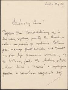 [List Władysława Wąsowicza do Józefa Wiśniowskiego,18.09.1916]