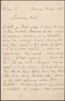 [List Aleksandra Świętochowskiego do Józefa Wiśniowskiego, 24.05.1905]