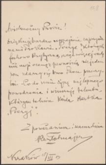 [List Kazimierza Przerwy-Tetmajera do Józefa Wiśniowskiego, 15.03.1903]