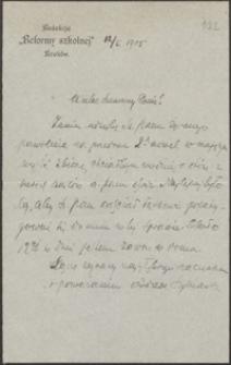 [List Adama Szymańskiego do Józefa Wiśniowskiego, 12.01.1905]