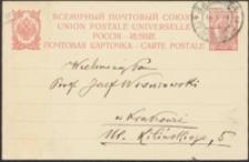 [Kartka pocztowa Józefa Kotarbińskiego do Józefa Wiśniowskiego, 29.03.1912]