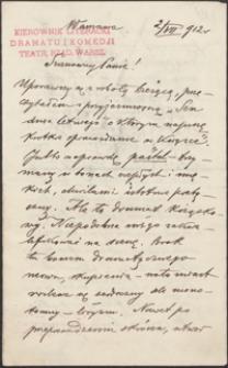 [List Józefa Kotarbińskiego do Józefa Wiśniowskiego, 02.07.1912]