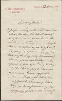 [List Józefa Kotarbińskiego do Józefa Wiśniowskiego, 28.03.1916]